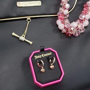 Juicy Couture E-Heart Crown Huggies Earrings